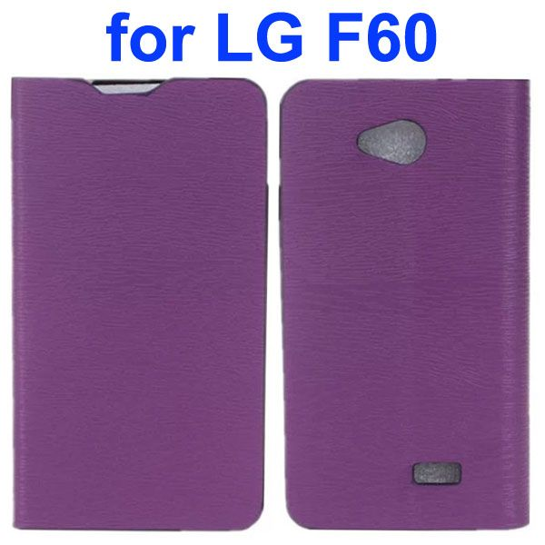 Wood Texture PU Leather Flip Case for LG F60 (Purple)