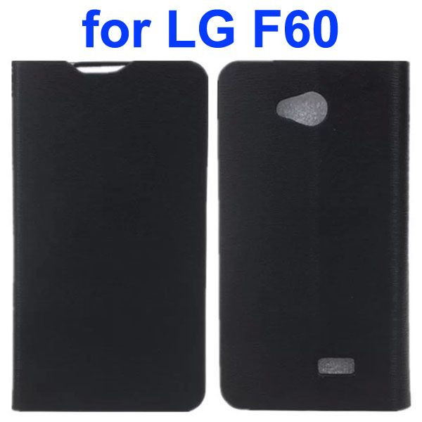 Wood Texture PU Leather Flip Case for LG F60 (Black)