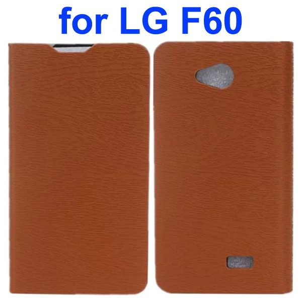 Wood Texture PU Leather Flip Case for LG F60 (Brown)