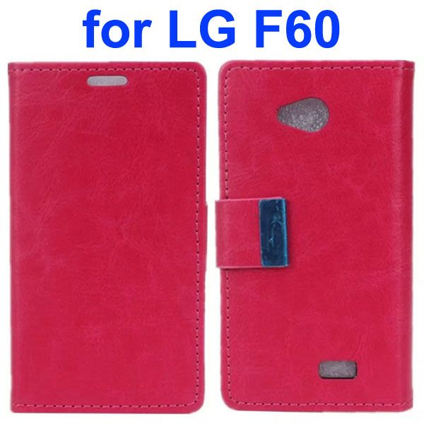 Crazy Horse Texture Metal Buckle PU Leather Flip Case for LG F60 (Rose)