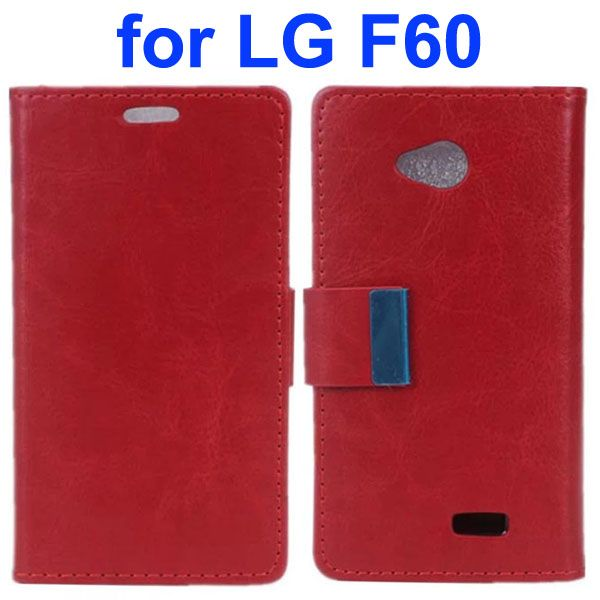 Crazy Horse Texture Metal Buckle PU Leather Flip Case for LG F60 (Burgundy)