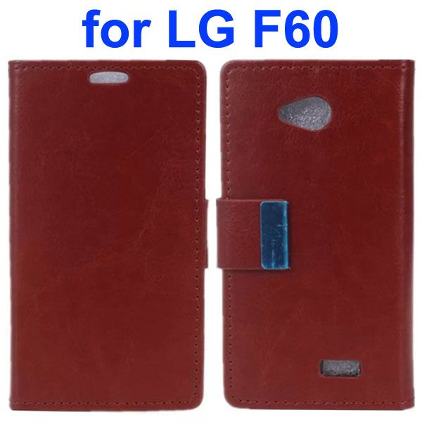 Crazy Horse Texture Metal Buckle PU Leather Flip Case for LG F60 (Brown)