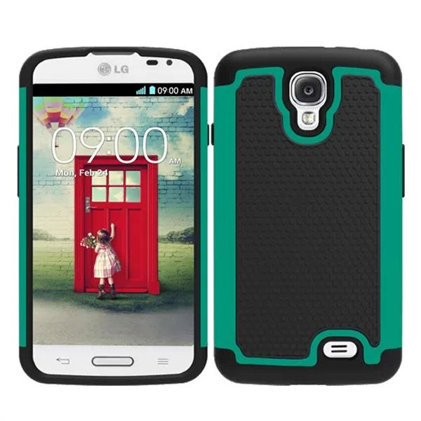 Football Texture Hybrid Rugged Protective Case for LG F70 (Dark Green)