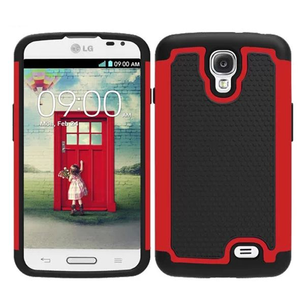 Football Texture Hybrid Rugged Protective Case for LG F70 (Red)
