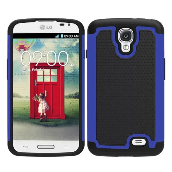 Football Texture Hybrid Rugged Protective Case for LG F70 (Dark Blue)