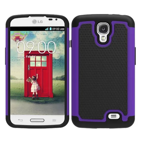 Football Texture Hybrid Rugged Protective Case for LG F70 (Purple)