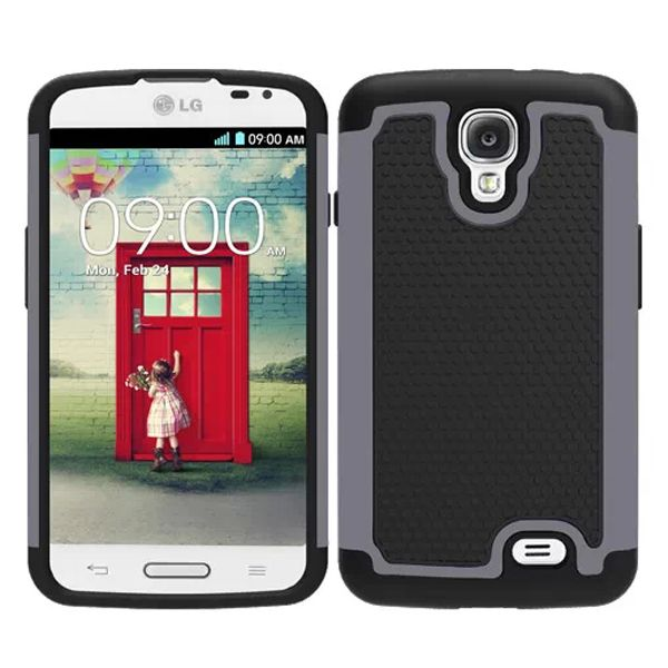 Football Texture Hybrid Rugged Protective Case for LG F70 (Grey)