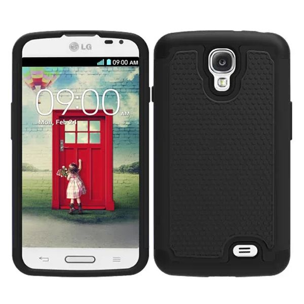 Football Texture Hybrid Rugged Protective Case for LG F70 (Black)