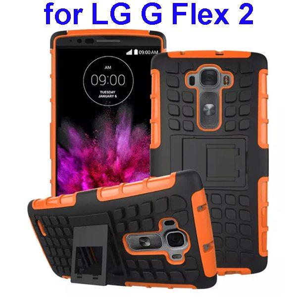TPU and PC Shockproof Rugged Hybrid Case for LG G Flex 2 with Kickstand (Orange)