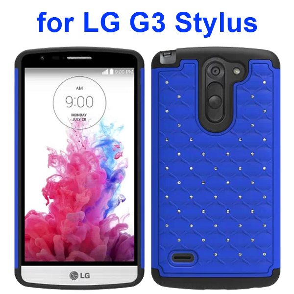 Bling Bling Style Crystal Attached Silicone and PC Hybrid Case for LG G3 Stylus (Blue)