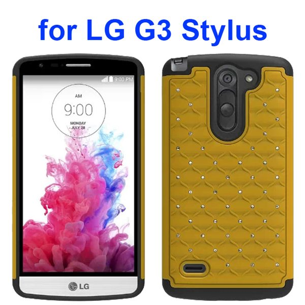 Bling Bling Style Crystal Attached Silicone and PC Hybrid Case for LG G3 Stylus (Yellow)