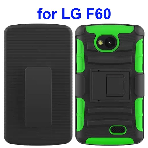 3 in 1 Snap-On Silicone and PC Case for LG F60 with Kickstand (Green)