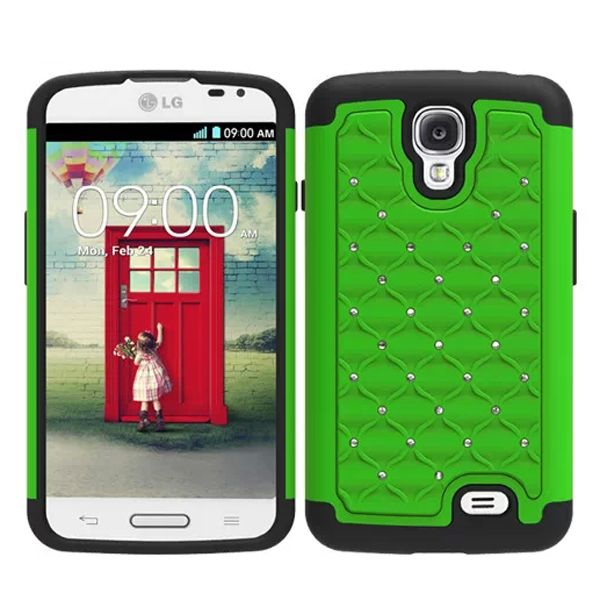 Bling Bling Crystal Style Hybrid PC and Silicone Rugged Case for LG F70 (Green)