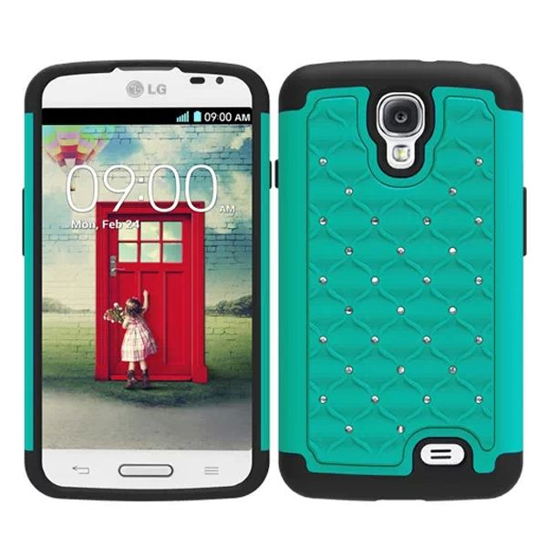 Bling Bling Crystal Style Hybrid PC and Silicone Rugged Case for LG F70 (Light Blue)