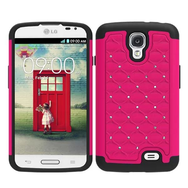Bling Bling Crystal Style Hybrid PC and Silicone Rugged Case for LG F70 (Rose)