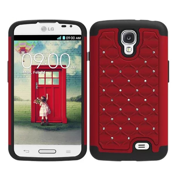 Bling Bling Crystal Style Hybrid PC and Silicone Rugged Case for LG F70 (Red)