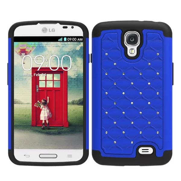 Bling Bling Crystal Style Hybrid PC and Silicone Rugged Case for LG F70 (Blue)
