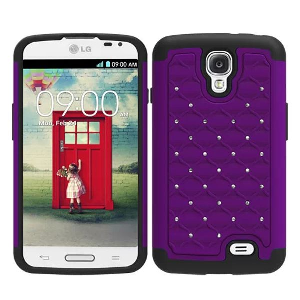 Bling Bling Crystal Style Hybrid PC and Silicone Rugged Case for LG F70 (Purple)