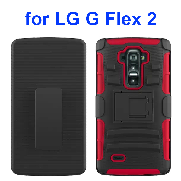 3 in 1 Pattern Silicone and PC Heavy Duty Holster Case for LG G Flex 2 with Kickstand (Red)