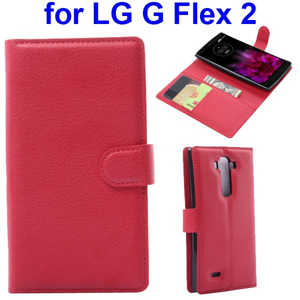 2015 New Arrival Litchi Texture Flip Leather Cover for LG G Flex 2 with Holder (Red)