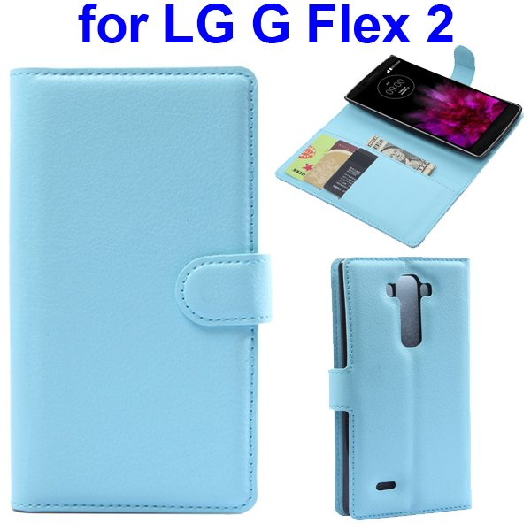 2015 New Arrival Litchi Texture Flip Leather Cover for LG G Flex 2 with Holder (Blue)