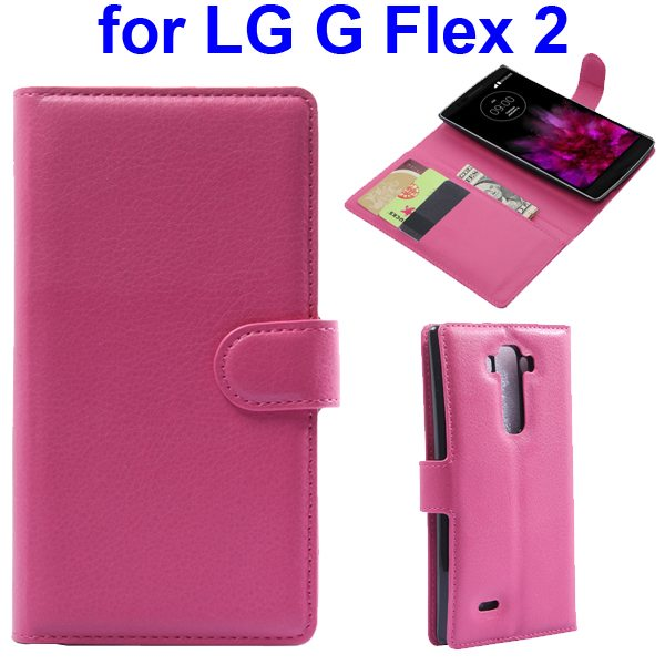 2015 New Arrival Litchi Texture Flip Leather Cover for LG G Flex 2 with Holder (Rose)