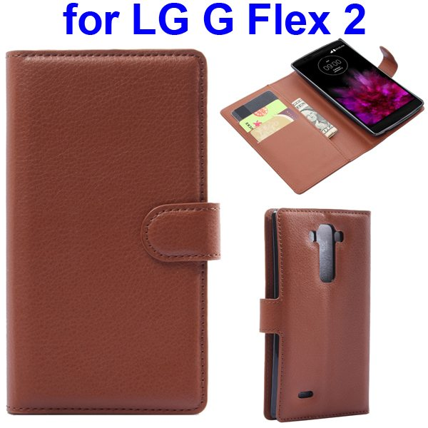 2015 New Arrival Litchi Texture Flip Leather Cover for LG G Flex 2 with Holder (Brown)