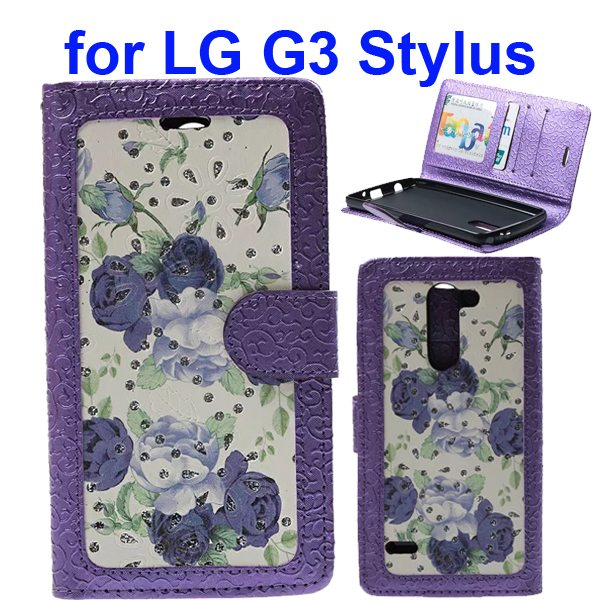 Embossed Style Wallet Flip Leather Case for LG G3 Stylus (Purple Roses)