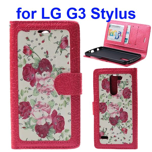 Embossed Style Wallet Flip Leather Case for LG G3 Stylus (Red Rose)