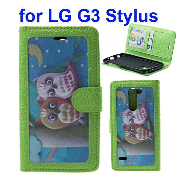 Embossed Style Wallet Flip Leather Case for LG G3 Stylus (Cute Owls)
