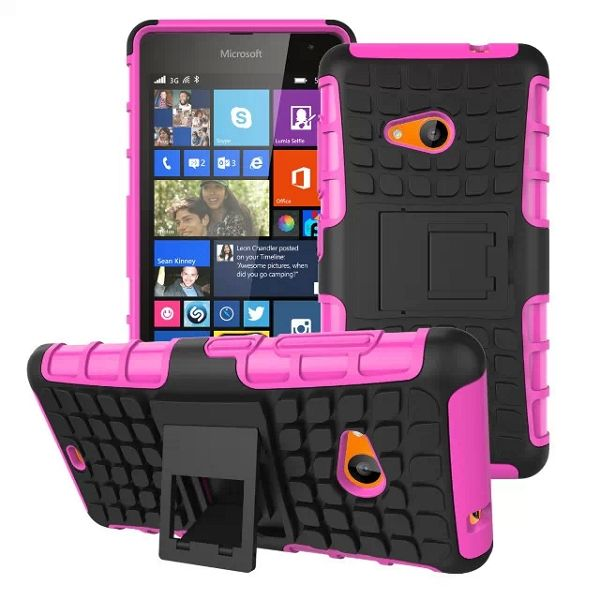 2 in 1 TPU and PC Case for Nokia Lumia 535 with Kickstand (Rose)