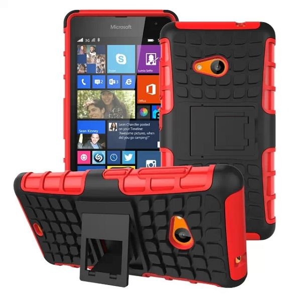 2 in 1 TPU and PC Case for Nokia Lumia 535 with Kickstand (Red)