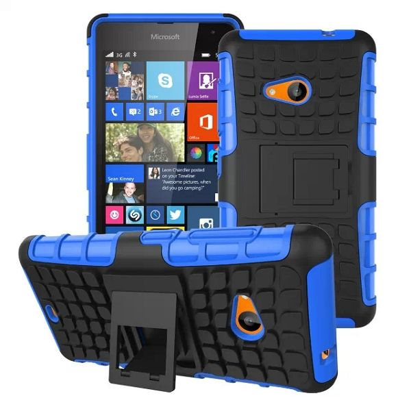 2 in 1 TPU and PC Case for Nokia Lumia 535 with Kickstand (Blue)