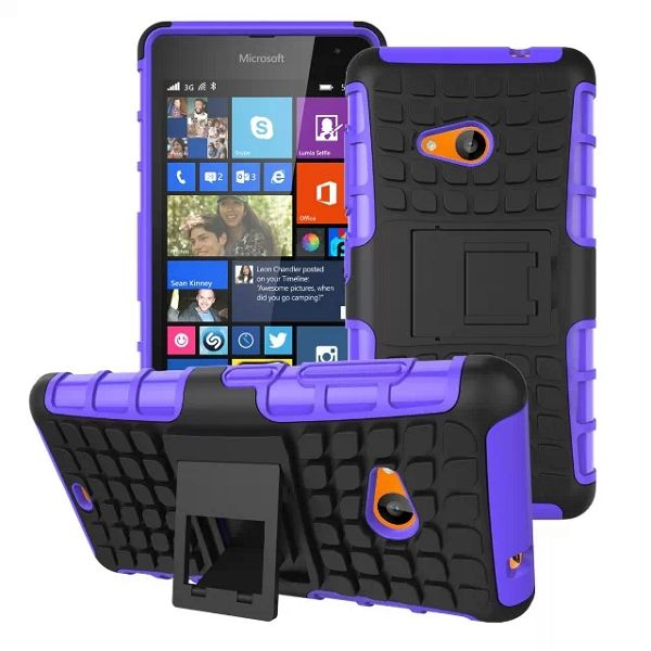 2 in 1 TPU and PC Case for Nokia Lumia 535 with Kickstand (Purple)