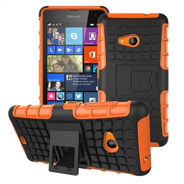 2 in 1 TPU and PC Case for Nokia Lumia 535 with Kickstand (Orange)