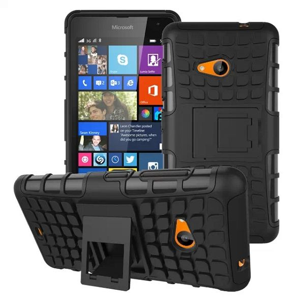 2 in 1 TPU and PC Case for Nokia Lumia 535 with Kickstand (Black)