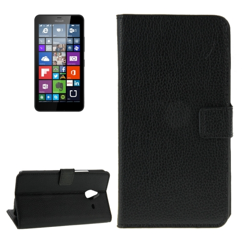 Litchi Texture Flip Leather Wallet Case for Microsoft Lumia 640 XL with Card Slots (Black)