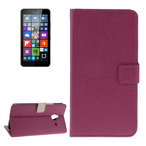 Litchi Texture Flip Leather Wallet Case for Microsoft Lumia 640 XL with Card Slots (Wine Red)