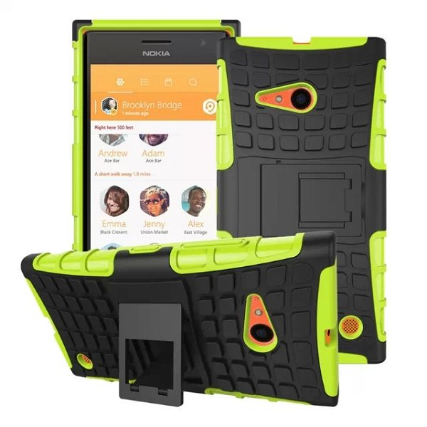 Antiskid 2 in 1 TPU and PC Case for Nokia Lumia 735 with Kickstand (Green)