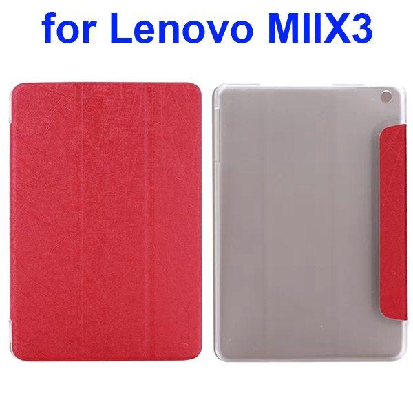 Silk Texture Three Folio Flip Leather Cover for Lenovo MIIX3 (Red)