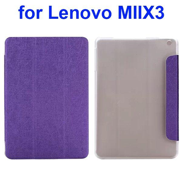 Silk Texture Three Folio Flip Leather Cover for Lenovo MIIX3 (Purple)