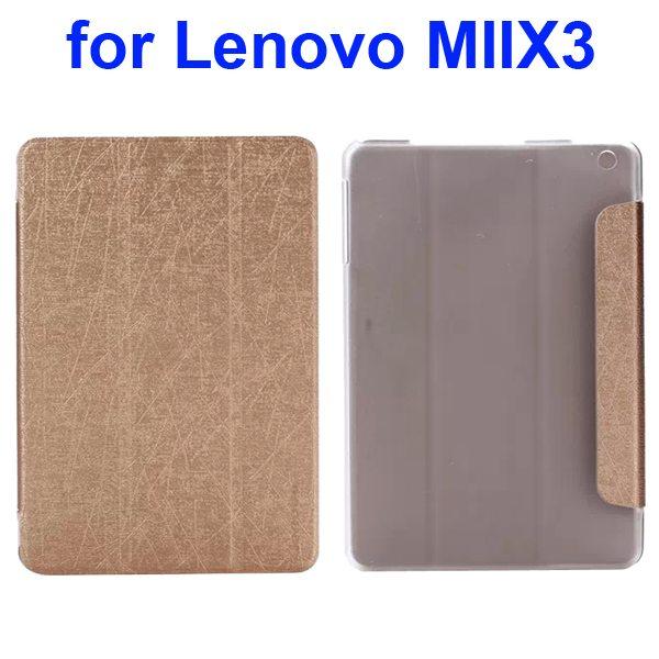 Silk Texture Three Folio Flip Leather Cover for Lenovo MIIX3 (Golden)