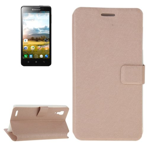 Silk Texture Horizontal Flip Leather Case for Lenovo P780 with Card Slot and Holder (Beige)