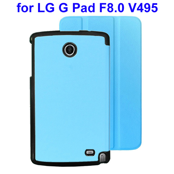 Karst Texture 3 Folding Flip Stand Leather Tablet Case for LG G Pad F8.0 V495 (Blue)
