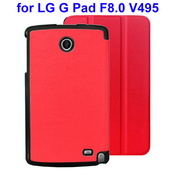 Karst Texture 3 Folding Flip Stand Leather Tablet Case for LG G Pad F8.0 V495 (Red)