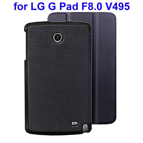 Karst Texture 3 Folding Flip Stand Leather Tablet Case for LG G Pad F8.0 V495 (Black)