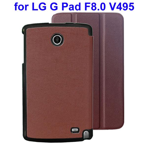 Karst Texture 3 Folding Flip Stand Leather Tablet Case for LG G Pad F8.0 V495 (Brown)