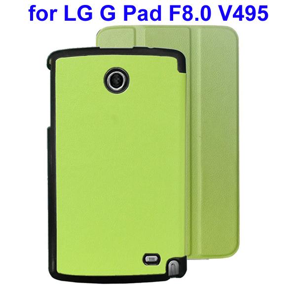 Karst Texture 3 Folding Flip Stand Leather Tablet Case for LG G Pad F8.0 V495 (Green)