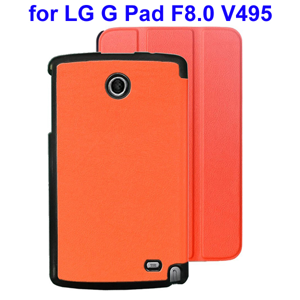 Karst Texture 3 Folding Flip Stand Leather Tablet Case for LG G Pad F8.0 V495 (Orange)