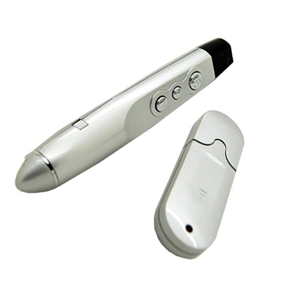 Wireless Bluetooth Remote Control 2 in 1 Function Office Red Laser Pointer USB Presenter Pen for Powerpoint (White)
